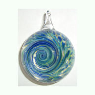 Aquatic Rhapsody Pendant Blown Glass Cremation Art by Tiffany Koehn