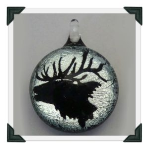 Carved Elk on Silver Dichro