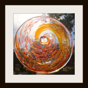 Blown Glass Rondel with Reds & Orange