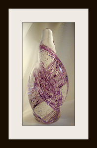 Free Form Glown Glass Sculpture with Purple Mix