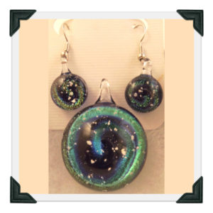 Dichro Pendant and Earrings in blue-green