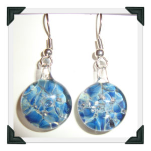 Blown Glass Earrings with blue mix