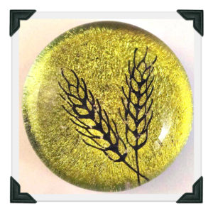 Carved Wheat on Gold Dichro