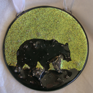 fused glass bear