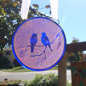 fused glass with birds