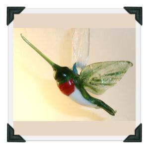 Blown Glass Hummingbird Figurine