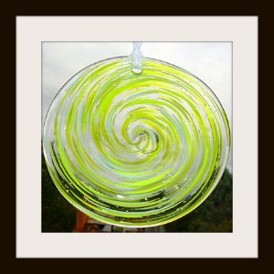 Blown Glass Rondel with Green Apple Mix